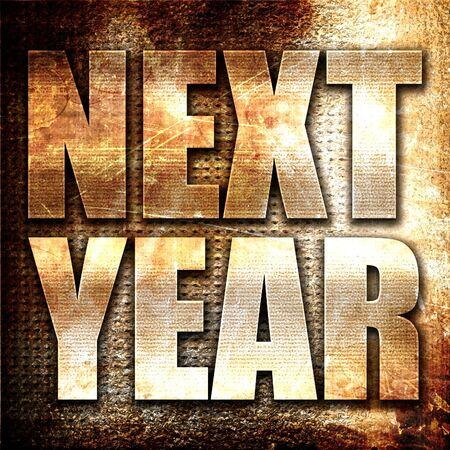 next horizon: next year, 3D rendering, metal text on rust background Stock Photo