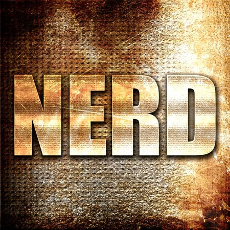 stereotypical: nerd, 3D rendering, metal text on rust background