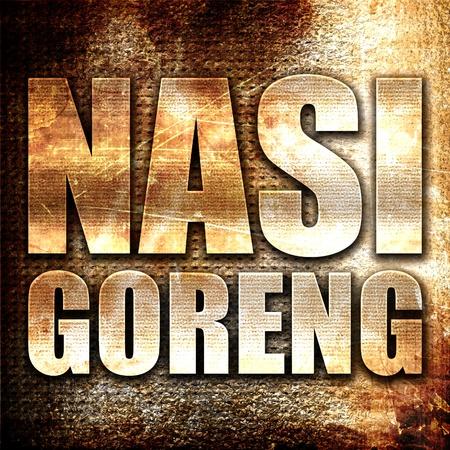 nasi: nasi goreng, 3D rendering, metal text on rust background