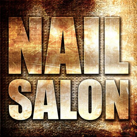 salon background: nail salon, 3D rendering, metal text on rust background