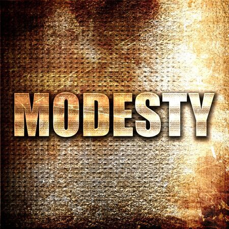 modesty: modesty, 3D rendering, metal text on rust background