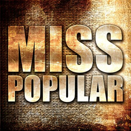 most talent: miss popular, 3D rendering, metal text on rust background Stock Photo