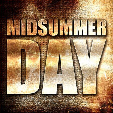 midsummer: midsummer day, 3D rendering, metal text on rust background