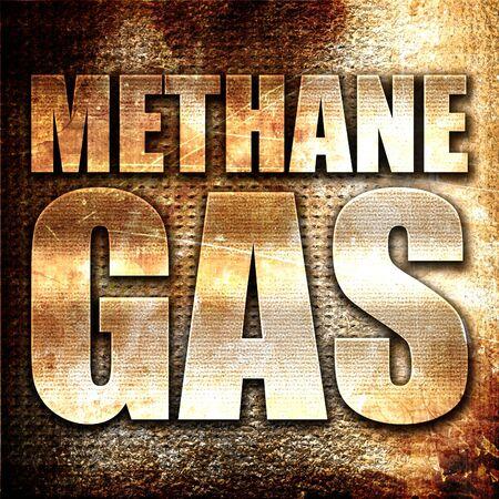 methane: methane gas, 3D rendering, metal text on rust background