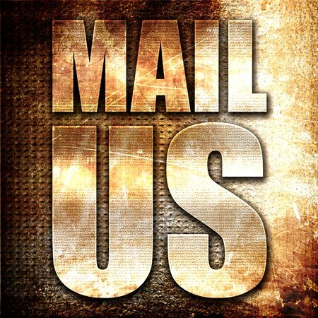 mail us: mail us, 3D rendering, metal text on rust background