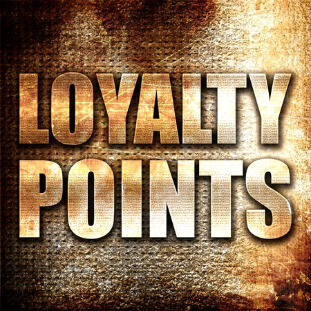 point: loyalty points, 3D rendering, metal text on rust background Stock Photo