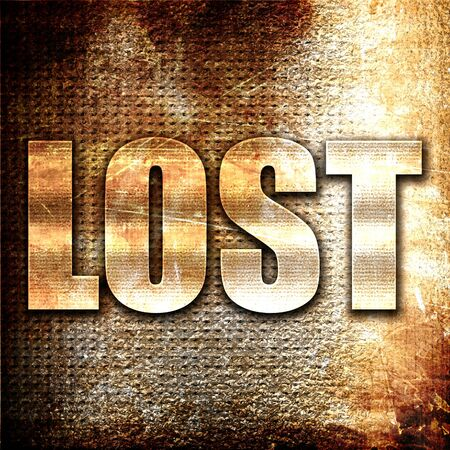 doomed: lost, 3D rendering, metal text on rust background