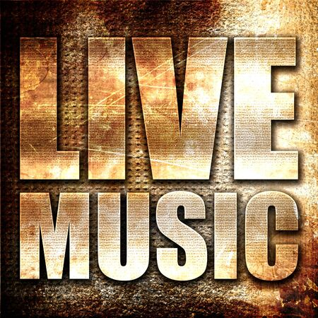 music 3d: live music, 3D rendering, metal text on rust background