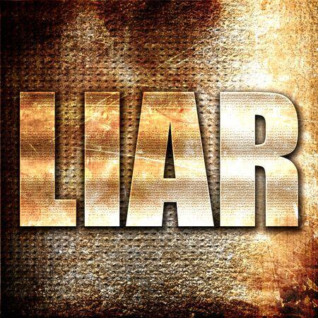 mislead: liar, 3D rendering, metal text on rust background