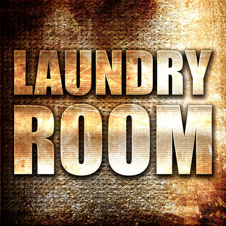 text room: laundry room, 3D rendering, metal text on rust background Stock Photo