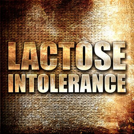 intolerancia: intolerancia a la lactosa, 3D, texto del metal en fondo del moho