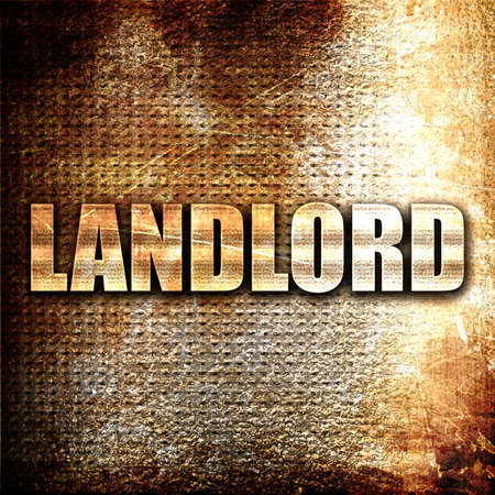 landlord: landlord, 3D rendering, metal text on rust background