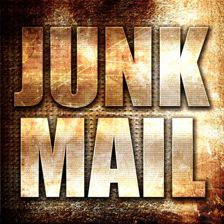 junk mail: junk mail, 3D rendering, metal text on rust background Stock Photo