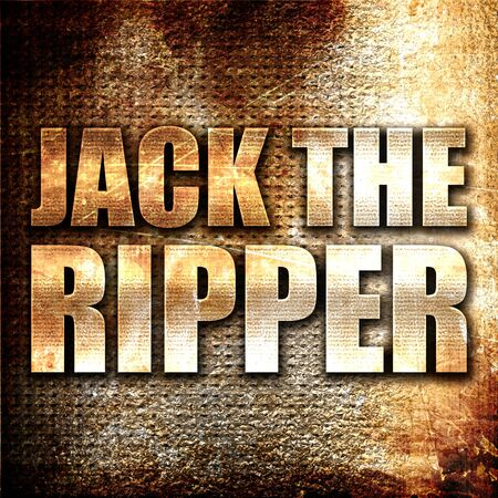 ripper: jack the ripper, 3D rendering, metal text on rust background
