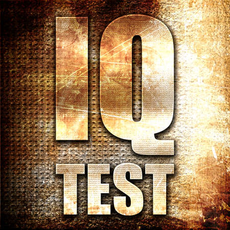 iq: iq test, 3D rendering, metal text on rust background Stock Photo