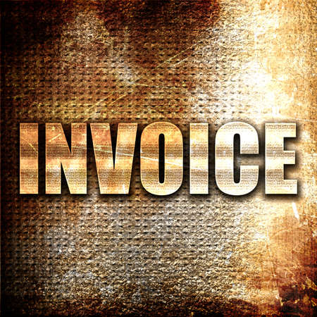 payable: invoice, 3D rendering, metal text on rust background