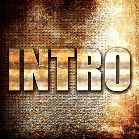 intro, 3D rendering, metal text on rust background Imagens