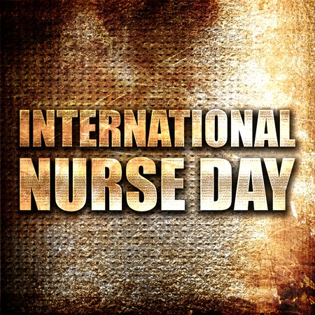 3d nurse: international nurse day, 3D rendering, metal text on rust background