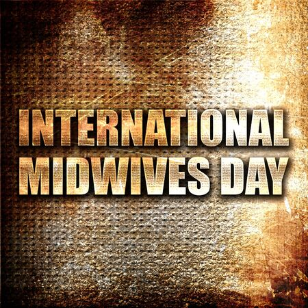midwifery: international midwives day, 3D rendering, metal text on rust background