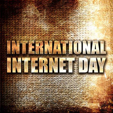international internet: international internet day, 3D rendering, metal text on rust background Stock Photo