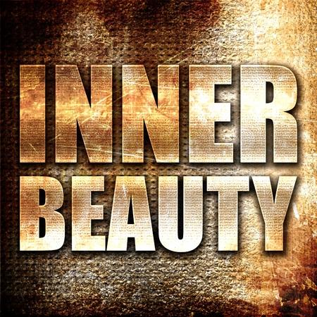inner beauty: inner beauty, 3D rendering, metal text on rust background Stock Photo