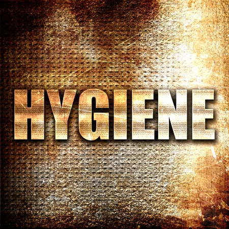 hygiene, 3D rendering, metal text on rust background Stock Photo
