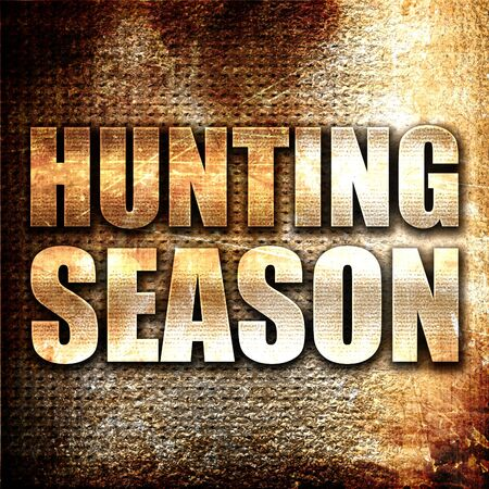 deer hunting: hunting season, 3D rendering, metal text on rust background