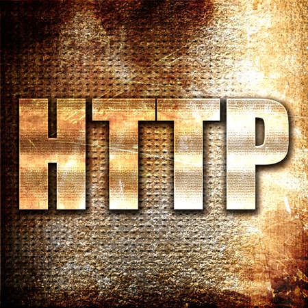 http: http, 3D rendering, metal text on rust background Stock Photo