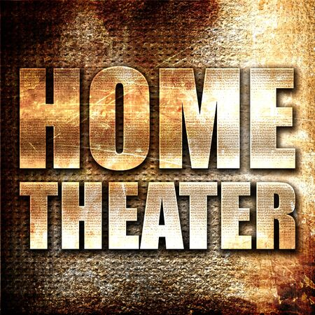 home theater: home theater, 3D rendering, metal text on rust background