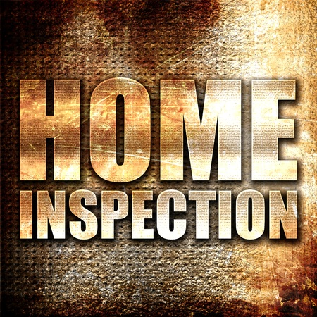 home inspection: home inspection, 3D rendering, metal text on rust background Stock Photo