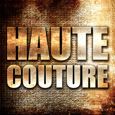 haute couture: haute couture, 3D rendering, metal text on rust background Stock Photo