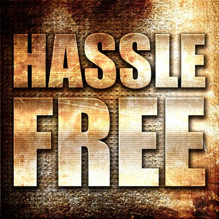 hassle: hassle free, 3D rendering, metal text on rust background Stock Photo