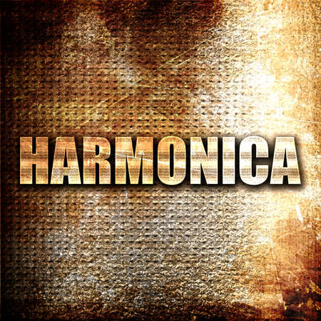 harmonica: harmonica, 3D rendering, metal text on rust background Stock Photo