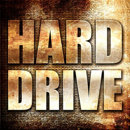 harddrive: harddrive, 3D rendering, metal text on rust background Stock Photo