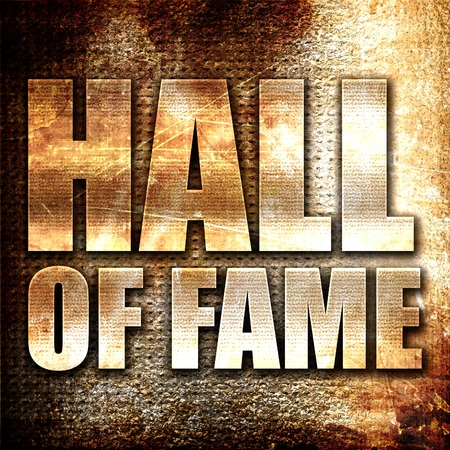 halls: hall of fame, 3D rendering, metal text on rust background