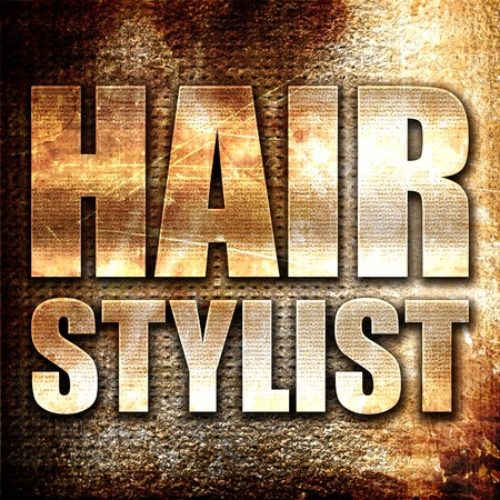 hair stylist: hair stylist, 3D rendering, metal text on rust background