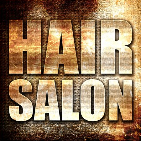 salon background: hair salon, 3D rendering, metal text on rust background Stock Photo
