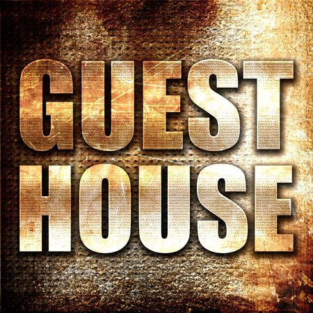 guesthouse: guesthouse, 3D rendering, metal text on rust background