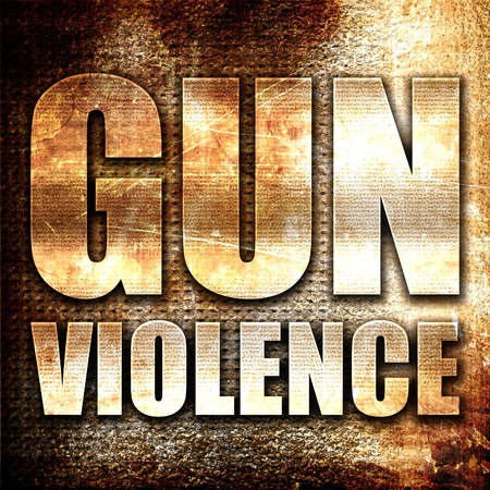 glock: gun violence, 3D rendering, metal text on rust background Stock Photo