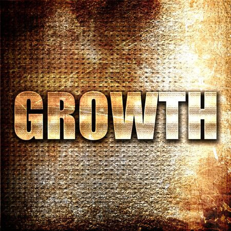 stock predictions: growth, 3D rendering, metal text on rust background Stock Photo