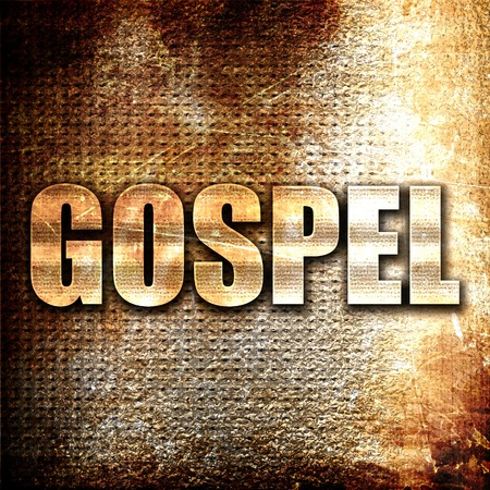 gospel: gospel, 3D rendering, metal text on rust background Stock Photo