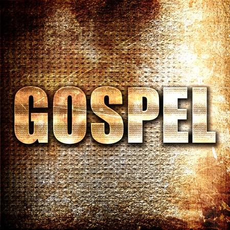 gospel, 3D rendering, metal text on rust background
