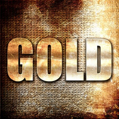 gold metal: gold, 3D rendering, metal text on rust background