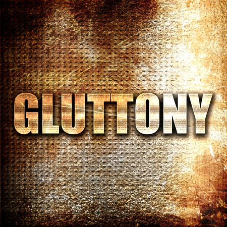 gluttony: gluttony, 3D rendering, metal text on rust background