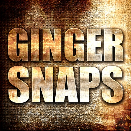 sweet sugar snap: ginger snaps, 3D rendering, metal text on rust background Stock Photo