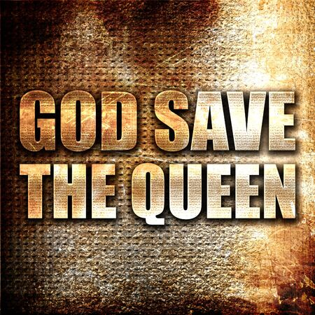 god 3d: god save the queen, 3D rendering, metal text on rust background