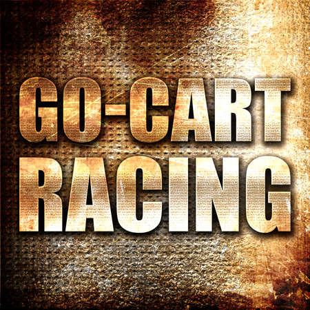 carting: go cart racing, 3D rendering, metal text on rust background