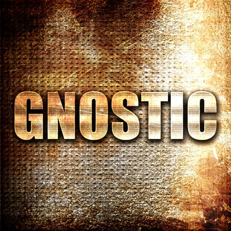 gnostic: gnostic, 3D rendering, metal text on rust background