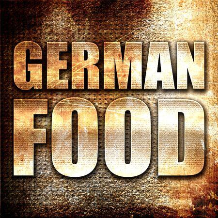 comida alemana: comida alemana, 3D, texto del metal en fondo del moho