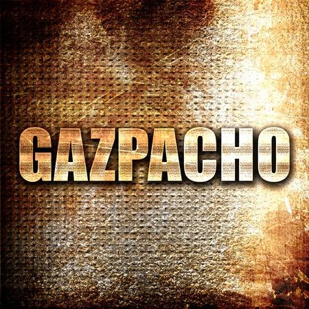 gazpacho: gazpacho, 3D rendering, metal text on rust background